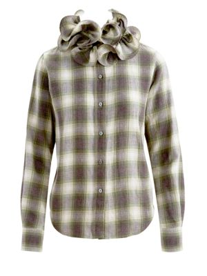 Marc Jacobs T-shirts Runway Plaid Ruffle Collar Long-Sleeve Shirt