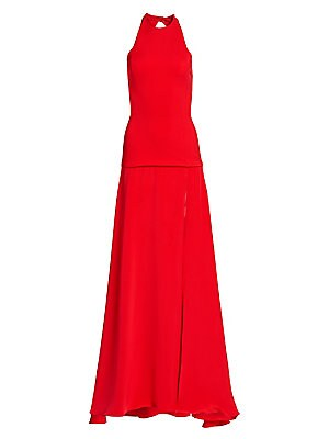 Image of An athletic neckline partnered with a back cutout add an athletic quality to this gown's silhouette. A thigh-high slit emerges from the dropped waist, enhancing the sensuality of the piece. Roundneck Sleeveless Concealed back zip and snap button closure P