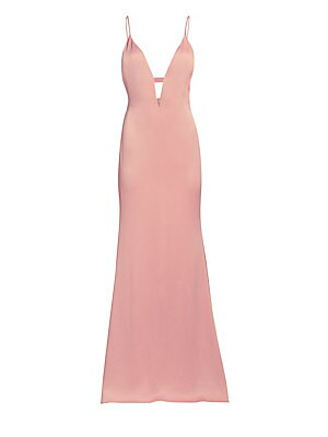 Image of Crafted from a seersucker satin, this floor-length gown is an elegant number. A plunging neckline is mirrored by an open back, with strap detail running around the bodice. Deep-V neckline Sleeveless Concealed back zip closure Back cutout with elasticized