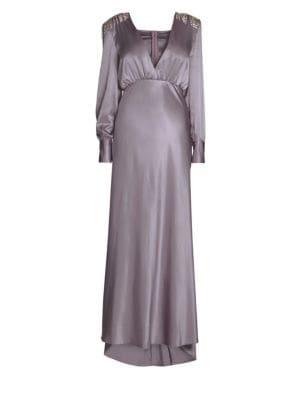 Alessandra Rich Deep-V Long Sleeve Silk Gown