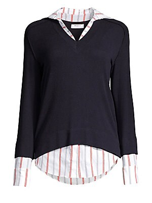 Image of A preppy 2-in-1 pullover styled with a classic V-neck and a striped shirt under layer. Dry clean. Made in USA. SWEATER V-neck Long sleeves Banded cuffs and sleeves Pullover style Back exposed seams High-low hem Viscose/wool/spandex SHIRT Point collar Long