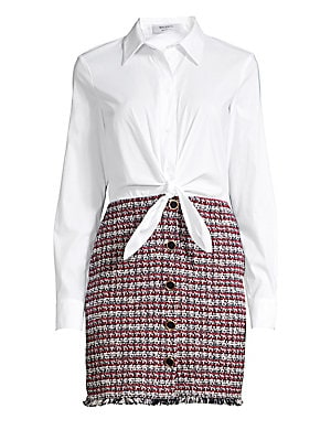Image of A flirty tie waist updates this preppy shirtdress styled with a tonal tweed skirt and button trim. Point collar Long sleeves Button cuffs Button front Tie waist detail Fringed hem Fabric 1: Cotton/nylon/spandex Fabric 2: Coton/polyester/polyamide Dry clea