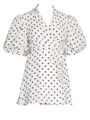 Alessandra Rich Polka Dot Puff Sleeve Mini Dress