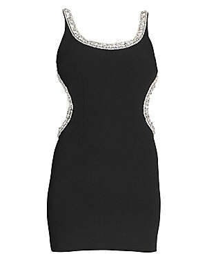 Image of Micro-mini in length, this little black dress is the quintessential party piece. Crystals run from the straps around to the open back, highlighting the female form in a dazzling manner. Scoopneck Sleeveless Open back with strap detail Lined Viscose/elasta
