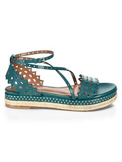 b591aa4cb62 Espadrilles. Alaïa - Laser Cut Leather Platform Espadrille Sandals
