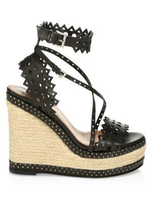 Alaïa Platforms Laser Cut Leather Platform Wedge Espadrille Sandals