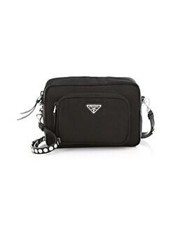 6d7d220723f Prada. Nylon Crossbody Bag With Studding