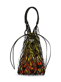 239bac7dd8cd64 Prada - Large Net Bag With Printed Silk Interior
