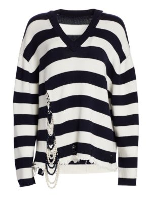 Monse Pearl Front V-Neck Striped Sweater