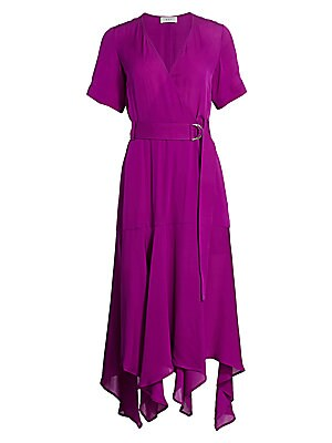 "Image of Airy silk wrap dress with fluttering handkerchief hem. Surplice neckline Short sleeves Wrap style with button closure D-ring belt at waist Lined Silk Dry clean Imported SIZE & FIT About 52.25"" from shoulder to hem Model shown is 5'10"" (177cm) wearing US s"