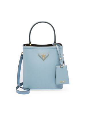 Small Leather Crossbody Bucket Bag by Prada