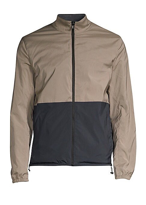 Image of The Reversible Packable Nappa Jacket has a stand collar, welted pockets with soundless snap-buttons, and elasticized trims. Designed to be fully packable, with a self-stowing pouch, this jacket comes in superior lamb leather and can be worn reversed with