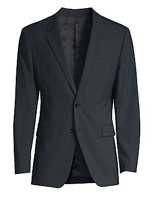 Image of The Chambers jacket is a structured cut with peak lapels, two-button closure, and flap pockets. This single-breasted jacket is woven from a premium wool with stretch for a comfortable fit. Notch lapel Long sleeves Button front Button cuffs Chest welt pock