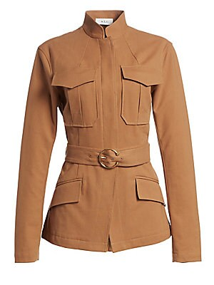 "Image of Goldtone pin buckle belt adds a touch of glam to this modern rendition of the safari jacket. Mandarin collar Long sleeves Concealed button front Front flap pockets Cotton/tencel/elastane Dry clean Imported SIZE & FIT About 28.5"" from shoulder to hem Model"