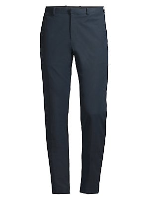 Image of From the Theory Foundation collection, the essential everyday Zaine Pant comes with a hook bar and zip closure, belt loops, and slash pockets. Dynamic in superior stretch cotton with a compact, double-weave construction, this pant resists creasing as it m