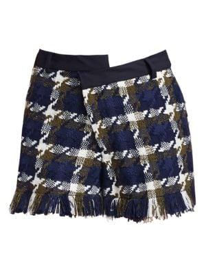 Monse Tweed Asymmetric Shorts