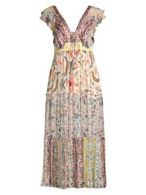 Hemant & Nandita Dresses Short-Sleeve Floral Maxi Dress