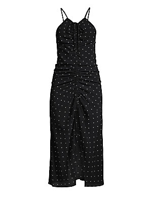 """Image of Flattering front ruching details elevate this versatile midi dress in allover dots. Halterneck Adjustable straps Self tie front Sleeveless Concealed back zip Ruching details Lined Viscose/polyester Dry clean Imported SIZE & FIT About 51"""" from shoulder to"""