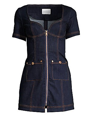 "Image of Essential denim dress with flirty sweetheart neckline flaunts eye-catching goldtone trim and contrast stitching. Sweetheart neckline Short sleeves Zip front Front patch pockets Cotton/spandex Dry clean Imported SIZE & FIT About 31"" from shoulder to hem Mo"