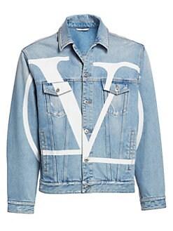 06e0c90a98 Valentino. Long-Sleeve Logo Denim Jacket