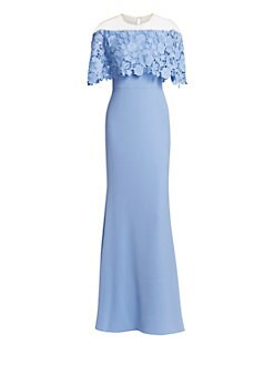 eaff28cdacc QUICK VIEW. Lela Rose. Lace Capelet Gown