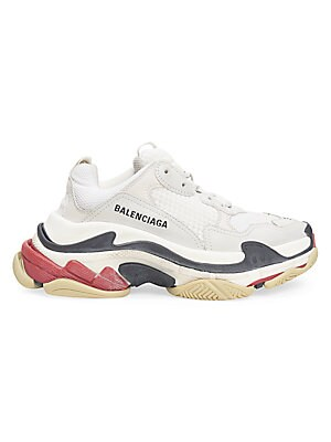 Image of Mixed media sneakers in a multi patchwork weave design embodies a high tech finish. Polyester upper Round toe Lace-up vamp Textile lining Rubber and plastic sole Imported. Women's Shoes - Advanced Women's Designe. Balenciaga. Color: Pink. Size: 38 (8).
