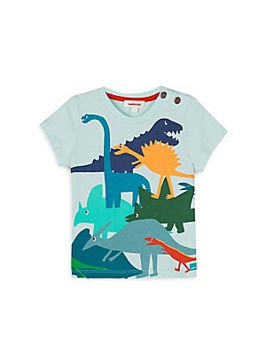 Image of A colorful array of dinosuars adds interest to this comfy cotton tee. Banded crewneck Short sleeves Two-snap shoulder placket Cotton Machine wash Imported. Children's Wear - Contemporary Children. Catimini. Color: Aqua. Size: 4.