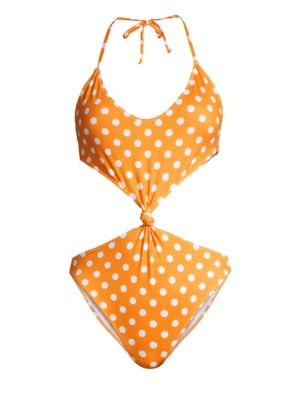 Caroline Constas Irini Dotted Front Knot One Piece Swimsuit