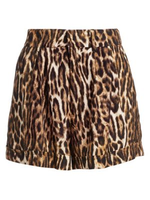 R13 Leopard Print High Rise Shorts