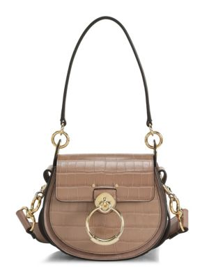 Chlo Tess Croc Embossed Leather Saddle Bag
