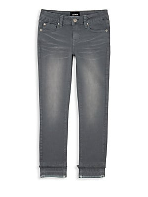Image of Whiskered jean with frayed detail above the ankles. Belt loops Top button/zip fly Five-pocket styling Cotton/spandex Machine wash Imported. Children's Wear - Contemporary Children. Hudson Jeans. Color: Gray Goddess. Size: 8.