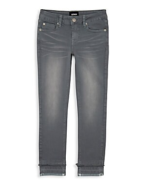 Image of Whiskered jean with frayed detail above the ankles. Belt loops Top button/zip fly Five-pocket styling Cotton/spandex Machine wash Imported. Children's Wear - Contemporary Children. Hudson Jeans. Color: Gray Goddess. Size: 12.