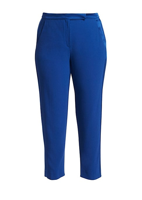 Image of From the Elegante Collection. High-waisted pant with a men's wear-inspired cut and tapered cropped leg. Tab and hook/zipper fly. Slanted front pockets. Back slit ticket pocket. Cropped leg. Acetate/viscose. Dry clean. Made in Italy. SIZE & FIT. Classic fi