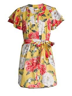 ab35457c54 Parker - Nate Floral Flutter-Sleeve Shirtdress