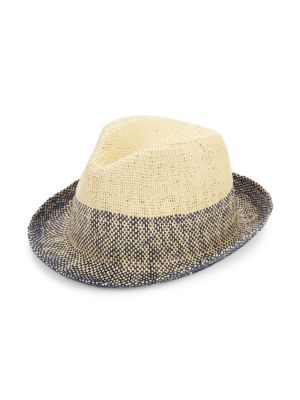 90113955 Paul Smith Men's Two-Tone Straw Trilby Hat In Navy | ModeSens