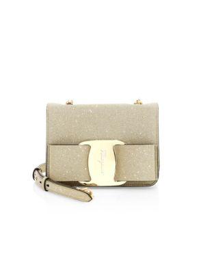 Salvatore Ferragamo Mini Tess Bow Glitter Crossbody Bag