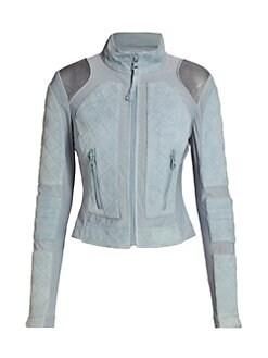 b76f45ffd7e6 Product image. QUICK VIEW. Blanc Noir. Suede   Mesh Moto Jacket