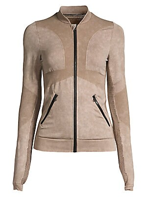 Image of Fitted zip front jacket fuses mesh and a mix of textures for a look that takes you from gym to street. Baseball collar Long sleeves with thumbholes Zip front with chin guard Angled zip pockets Rib-knit and mesh trim Nylon/spandex Machine wash Imported SIZ