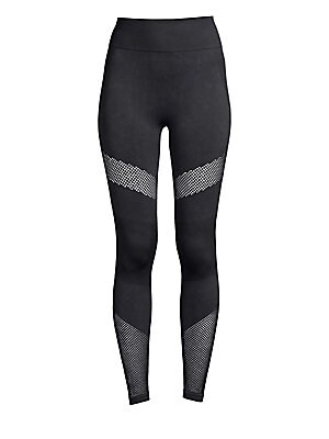 """Image of Sporty leggings feature graphic mesh panels in a high-rise design. Wide banded elasticized waist Pull-on styling Nylon/spandex Machine wash Imported SIZE & FIT High-rise Rise, about 10"""" Inseam, about 24"""" Leg opening, about 8"""" Model shown is 5'10"""" (177cm)"""