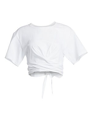 """Image of Update your casual look in this twist-tie tee puncutated with a flirty back cutout. Crewneck Dropped shoulders Short sleeves Cotton Machine wash Made in USA SIZE & FIT About 17"""" from shoulder to hem Model shown is 5'10"""" (177cm) wearing US size Small. Cont"""