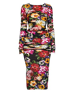 Ruched Floral Midi Sheath Dress by Dolce & Gabbana