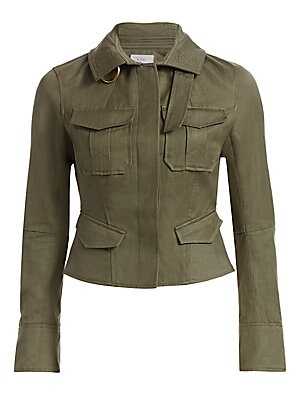 Image of Utilitarian tab buckle detail lends an industrial vibe to this flap pocket jacket. Spread collar Long sleeves Inverted pleated cuffs Concealed button front Chest and waist flap pockets Peplum hem Cotton/linen Machine wash Imported of Italian fabric SIZE &