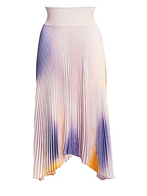 """Image of Artful ombré effects lend a whimsically psychedelic touch to skirt's accordion pleats. Smocked waist Pull-on style Handkerchief hem Polyester Dry clean Imported SIZE & FIT A-line midi silhouette About 29.5"""" long Model shown is 5'10"""" (177cm) wearing US siz"""
