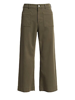 """Image of Cropped wide-leg pants with utilitarian-cool styling. Belt loops Button closure Zip fly Front patch pockets Cotton/elastane Machine wash Imported SIZE & FIT Inseam, about 26"""" Model shown is 5'10"""" (177cm) wearing US size 4. Contemporary Sp - Workshop. A.L."""