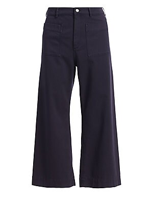"""Image of Cropped wide-leg pants with utilitarian-cool styling. Belt loops Button closure Zip fly Front patch pockets Cotton/elastane Machine wash Imported SIZE & FIT Inseam, about 26"""" Model shown is 5'10"""" (177cm) wearing US size 4. Contemporary Sp - Workshop > Sak"""