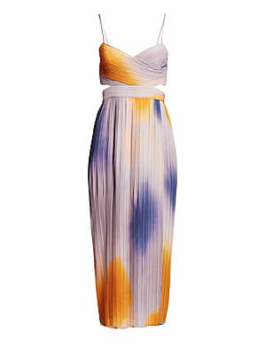 "Image of Breezy pleated dress with side and back cutouts. Surplice neckline Spaghetti straps Sleeveless Side zip closure Ombre finish Lined Polyester Dry clean Imported SIZE & FIT About 48.5"" from shoulder to hem Model shown is 5'10"" (177cm) wearing US size 4. Con"