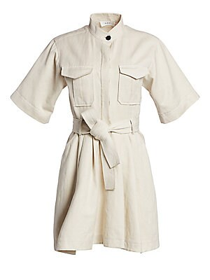 Image of A flared silhouette and chic Mandarin collar update this cargo-style shirtdress accentuated with a cinched waistline. Mandarin collar Elbow sleeves Button placket front Chest flap patch pockets Belt loops with waist self tie Side slant pockets Pleated det