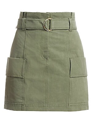 """Image of Industrial-inspired skirt flaunts portable flap pockets and an adjustable buckle belted waist. Belt loops Zip front with hook and adjustable buckle belted waist Front patch pockets Cotton/linen Machine wash Imported SIZE & FIT Mini silhouette About 18.5"""""""
