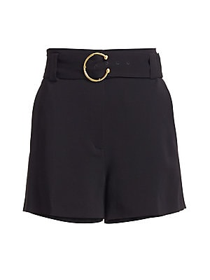 """Image of Verstaile belted shorts styled with a goldtone belt buckle and tailored fit. Belt loops Adjustable waist belt Conclealed zip with hook-and-eye closure Side slant pockets Back welt pockets Viscose/elastane Dry clean Imported SIZE & FIT Rise, about 3"""" Insea"""