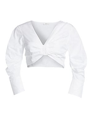 "Image of Crisp poplin crop top deftly draped and ruched to create a flattering shape. V-neck Three-quarter sleeves Back zip closure Cotton Machine wash Imported of Italian fabric SIZE & FIT About 13.5"" from shoulder to hem Model shown is 5'10"" (177cm) wearing US s"